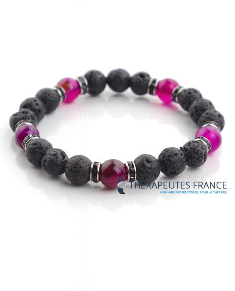 Bracelet diffuseur – pierre de lave – agate violette