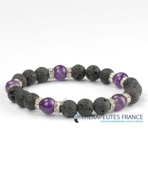 Bracelet diffuseur – pierre de lave – améthyste