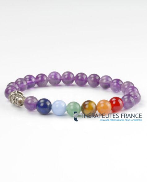 Bracelet therapeute « Soin des 7 chakras » Bouddha Améthyste