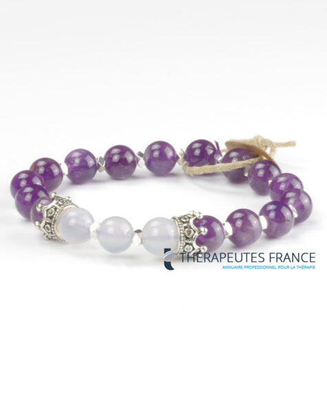 Bracelet améthyste – jade blanc