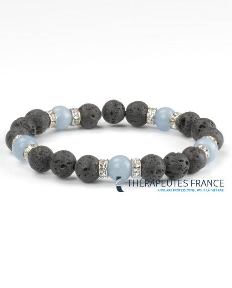 Bracelet diffuseur – pierre de lave – angélite