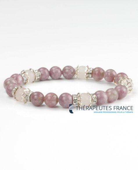 Bracelet – lépidolite – quartz rose argent 925 –