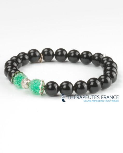 Bracelet – obsidienne oeil céleste – cristal italien