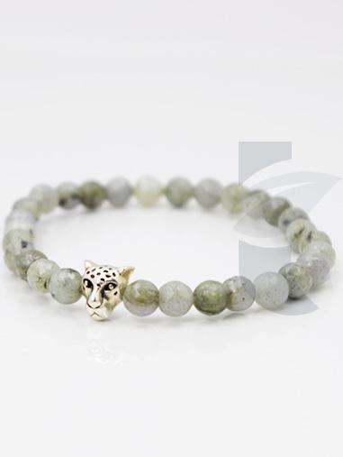 bracelet labradorite et panthère 6mm