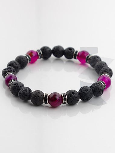 bracelet amethyste pierre de lave