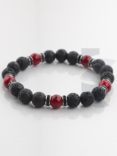 bracelet diffuseur pierre de lave corail