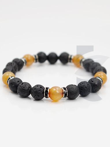 bracelet diffuseur pierre de lave rhodochrosite