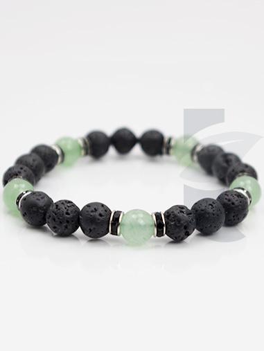 bracelet diffuseur pierre de lave aventurine verte