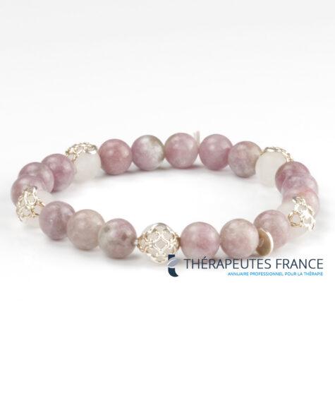 Bracelet – lépidolite – quartz rose argent 925 – globes